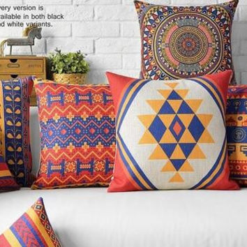 Free shipping/Bohemian abstract geometry 45* 45cm  cotton and linen hold pillow covers national wind cushion for leaning on