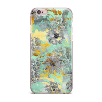 "Zara Martina Mansen ""Mint Gold Garden"" Green Gray iPhone Case"