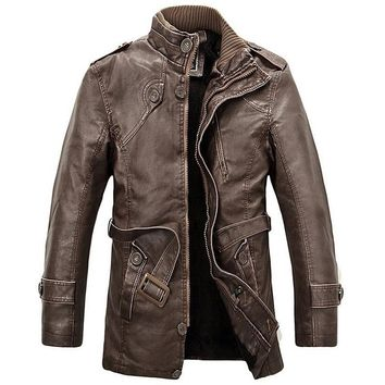 Trendy Leather Jacket Men Long Wool Stand Collar Coats jaqueta de couro Men's pu Leather Motocycle Jackets Outwear Trench Parkas AT_94_13