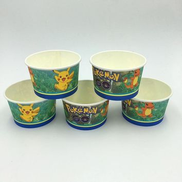 10pcs/lot  go ice cream cup Pikachu ice cream bowls  Go disposable ice cream cup factory selling party suppliesKawaii Pokemon go  AT_89_9