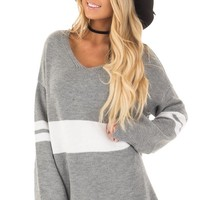 Cloud Grey Long Sleeve Varsity Stripe Sweater