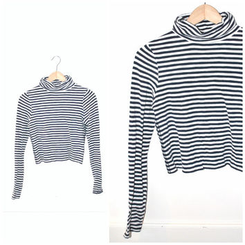 striped CROPPED turtle neck vintage NAUTICAL stipes navy + white PAPER thin grunge longsleeve shirt small medium