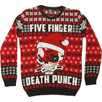 Five Finger Death Punch Men's  Knucklehead Santa Ugly Xmas Sweatshirt Black