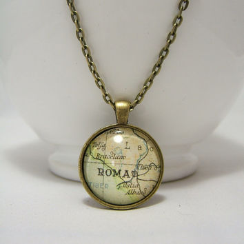 ROME Pendant NECKLACE ~ Vintage RoME ( ROMA ) Map Print ~ 25mm 1 inch ~ 24 Inch Chain ~ Glass Dome Pendant ~Picture ~ Bronze ~Glass Cabochon