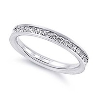 3MM Stainless Steel Clear CZ Channel Set Eternity Wedding Band