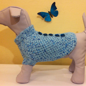 Knit Sweater For Dog. Dog Sweater. Pet Knit Clothing. Knitted Dog Demi-Season Sweater. Size S