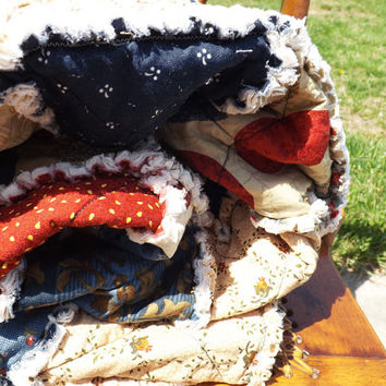 Rag Quilt - Lap Quilt - Vintage Look Americana - Rust Red - Blues - Paisley - Stripe - Floral -Handmade