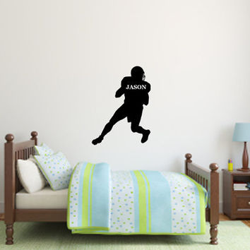 Custom Children Name on Football player Vinyl Design -Vinyl Decal - Wall Art  - Wall Decal
