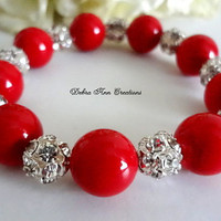 Swarovski Red Pearl and Crystal Bracelet Red Wedding Bridesmaid Jewelry Red Bridal Pearl Bridesmaid Bracelet Mother of the Bride Groom Gift