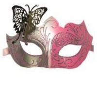 Venetian Pink and Silver Eye Masquerade Mask with Glitter Accents and a Butterfly