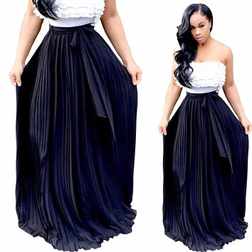 Vintage High Elastic Waist Maxi Pleated Skirt Women Plus Size Winter Floor Length With Belt Long Skirts Saias Das Mulheres