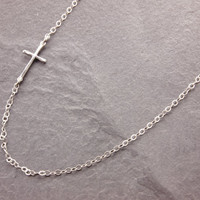 Sideways Cross Necklace, silver cross, religious necklace, cross necklace, cross pendant, skinny cross, minimalist, sterling cross, N14