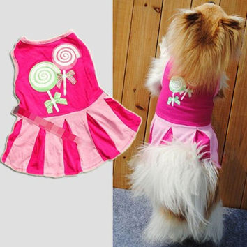 Cute and Candy Pattern Puppy Dog Doggie Apparel Clothes Hoodies Skirt Dress XS = 1931780996