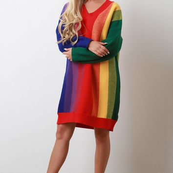 Rainbow Striped Knit Oversized Sweater Dress