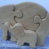 Elephant &Baby Elephant Puzzle,Handmade wooden toy - Animal zoo - Wooden Elephant - hand-crafted eco toy  friendly for Toddlers and Children