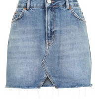 MOTO Cut Out Mini Denim Skirt