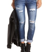 Low Rise Destroyed Skinny Boyfriend Jeans - Med Destroy Denim