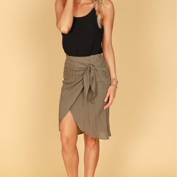 Twist Around Wrap Skirt Olive