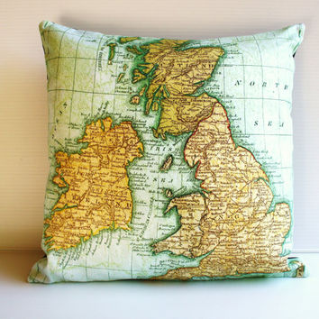 decorative pillow cushion cover UK - map pillow organic cotton, pillow, 16 inch, 41cms cushion cover
