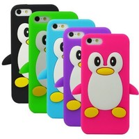 The Friendly Swede Basics - Bundle of 5 Apple iPhone 5 5S Penguin Soft Silicone Rubber Skins Covers Cases + 1 Microfiber Cloth