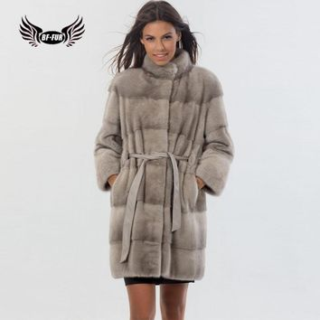 BFFUR Capped Woman Winter 2018 New Mink Coats For Women Genuine With Mandarin Collar Fashion Clothing Real Mink Fur Tops Blouson