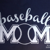 BASEBALL MOM cursive, shiny foil t-shirt -- fitted, regular, or long sleeve