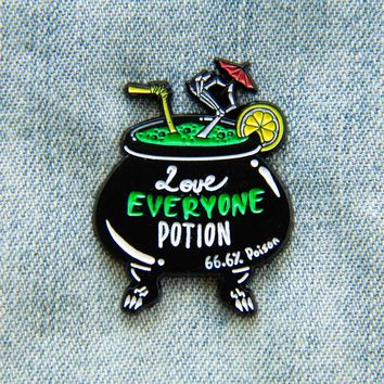 """""""Love Everyone Potion"""" Witch's Brew Cocktail Enamel Pin"""