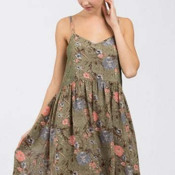 Olive Summer Garden Sundress