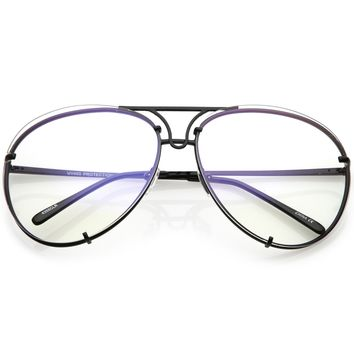 Oversize Industrial Design Clear Flat Lens Aviator Glasses C155