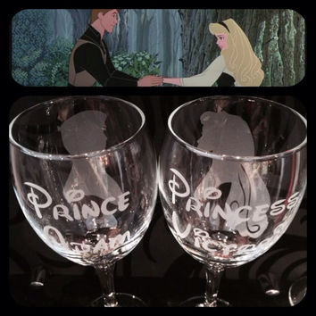 Hand Engraved Disney Wedding Glasses! Sleeping Beauty & Prince Philip. Free Personalisation!