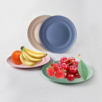 New Wheat Straw Round Plate Dish Lunch Dinner Snacks Fruit Dessert Tray Japanese Style Food Tableware  Kitchen Utensils
