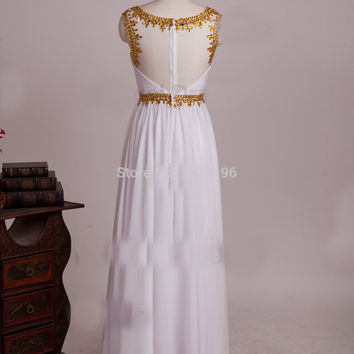 New Gold beaded white wedding party dress gown Prom dress evening dresses Homecoming pageant dress gown beading