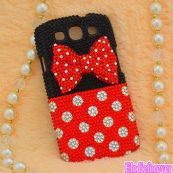 Polka Dot Samsung i9300 Case,Bow-knot Samsung GALAXY S3 Case ,Rosette Samsung Case, Bow GALAXY S3 Case, Bling Rhinestone GALAXY case,C010