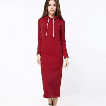 Warm Plush Mid Length Hoodie Dress