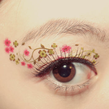 1 Pair Eye Temporary Tattoo Holiday Makeup Eyeshadow Rainbow Flower Petal dancer Stage Clubbing Masquerade Cocktail Party Valentine Gift