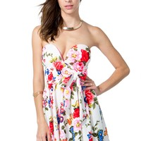 Bold Floral Bustier Flare Dress