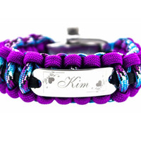 550 Paracord Bracelet with Small Rectangle Engraved Stainless Steel ID Tag