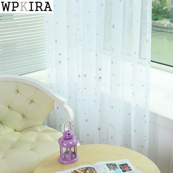 White Star Tulle Curtains Modern Curtains for Living Room Transparent Tulle Curtains Window Drapes Sheer for the Bedroom 234&15