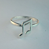 Musical note ring sterling silver MUSIC NOTE by Hellomyflower