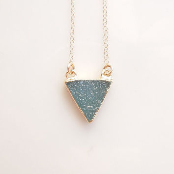 Druzy Necklace in Dark Aqua - Triangle Necklace - OOAK Jewelry