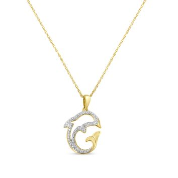 Yellow Plated Sterling Silver 0.02ct TDW Round Diamond Dolphin Pendant Necklace (H-I,I2)