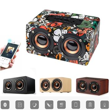 10W Fashion Wooden Bluetooth 4.0 Bass Speakers Dual Loudspeakers Surround Portable Wireless Computer Wood Speaker