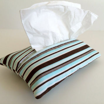 Travel Tissue Holder Kleenex Pouch in Vintage Stripe