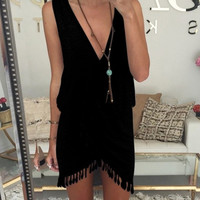 Women Summer Style Fringe Tassel Short Dress Front Wrap Smock Deep V Neck Bodycon Sexy Party Club Beach Dresses