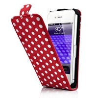 TOOGOO(R) Red and White Polka Dot Pattern Magnet Flip Hard Leather Case For Apple iPhone 4S / 4 (AT&T, Verizon, Sprint)