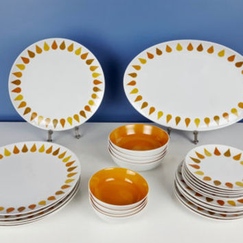 Vintage Dinnerware Set Mod Orange Sheba Yellow White Teardrop Dinner Plate Bowl Platter Mid Century Modern MCM Mod Decor Fraser's Fine China