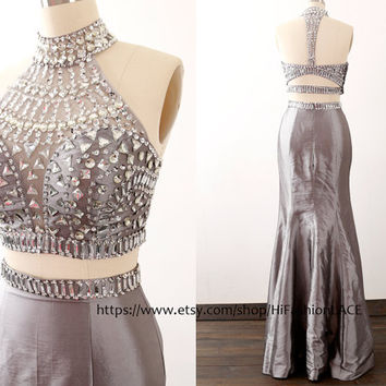 Mermaid Two Pieces Prom Dress, Mermaid Wedding Party Dresses, Halter Gray Taffeta Long Prom Gown, Formal Gown