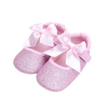 Baby Girl Shoes First Walkers Gold Bling Baby shoes With Big Bow