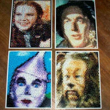 Amazing Wizard of OZ Vintage poster montage set of 4