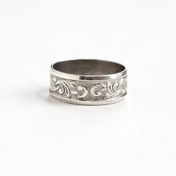 Vintage Sterling Silver Floral Vine Repousse Eternity Ring Band - Retro Art Deco Style Size 8.5 Cigar Band Jewelry Hallmarked Clark & Coombs
